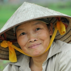 Rice paddy farmer. Red River Delta, Vietnam. 2013.
