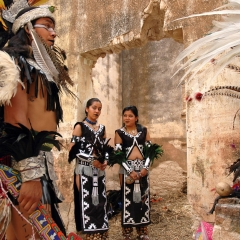 Pre-Hispanic dancers at sacred tribal site in Pozos, Mexico. 2007.
